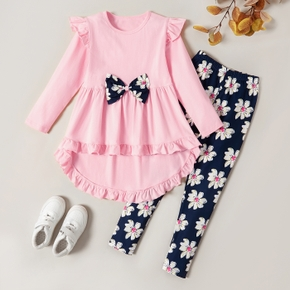 Trendy Bowknot Ruffled Longsleeves Tee and Flower Allover Print  Pants