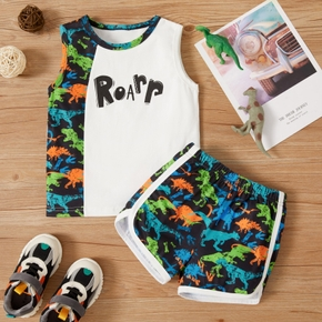 2-piece Toddler Boy Dinosaur Print Camisole and Shorts Set