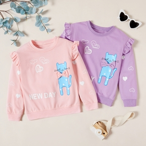 Pretty Cat Print Bowknot Ruffled Sweatshirts