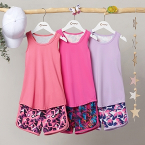 Geometric Print Tank Top and Shorts Athletic Set for Toddlers / Kids