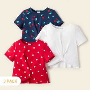 3-piece Toddler Girl Cherry Polka Dots Solid Tees