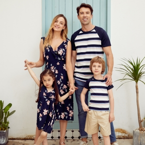 Mosaic Floral Print and Stripe Family Matching Sets