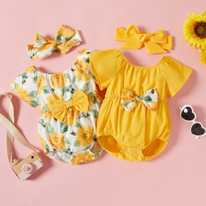 2pcs Baby Girl Short-sleeve Floral Print Bowknot and Headband Set Rompers