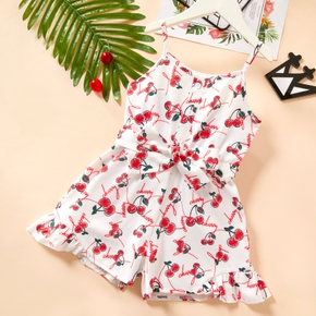 Baby / Toddler Girl Cherry Print Bowknot Jumpsuit