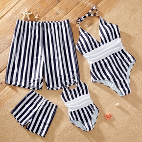 Striped Print Family Matching Swimsuits(One-piece Swimsuits for Mom and Girl ; Swim Trunks for Dad and Boy)