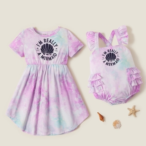Mosaic Letter and Shell Print Tie Dye Matching Sibling Sets