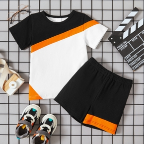 2-piece Toddler Boy Casual Splice Tee and Shorts Set