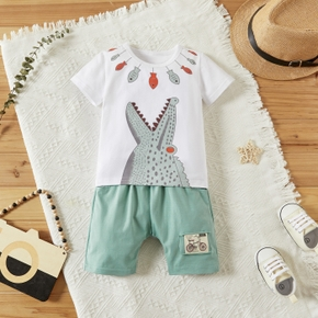 2pcs Baby Boy casual Animal Crocodile Short-sleeve Cotton Baby's Sets