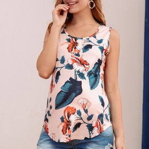 Maternity casual Floral Print Round collar Tank Tops