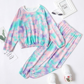 2-piece Kid Girl Tie Dye Round-collar Pullover and Elasticized Pants Casual Set
