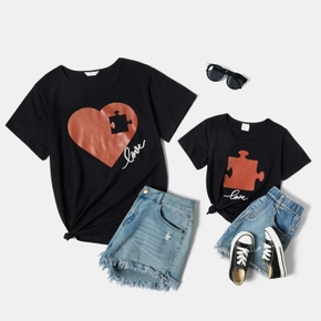 Love Print Black Cotton T-shirts for Mom and Me
