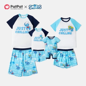 Smurfs Summer Casual Chilling Top and Palm Shorts Sets For Family Matching