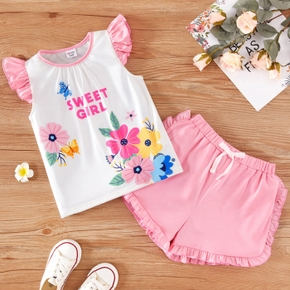 Trendy Toddler Girl Floral Butterfly Print Set