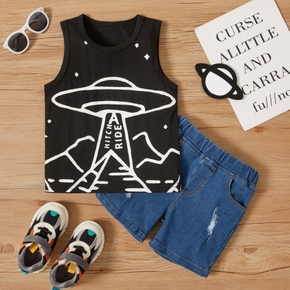 2-piece Toddler Boy Letter Spaceship Print Tank Top and Ripped Denim Shorts Set