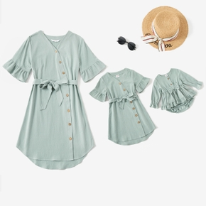 100% Cotton Solid Bell Short-sleeve Matching Green Midi Dresses