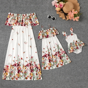 Floral Print Flounce Off-shoulder Dresses for Mommy and Me