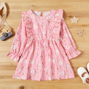 Baby / Toddler Floral Pattern  Ruffled Long-sleeve Dress