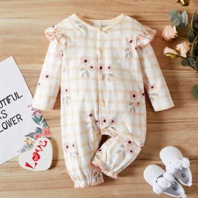 Baby Floral and Plaid Print Ruffle Long-sleeve Jumpsuit