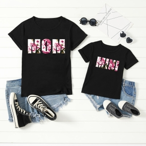 Floral Letter Print Black T-shirts for Mom and Me