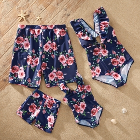 Family Look Floral Print Ruffle Decor One-piece Matching Swimsuits