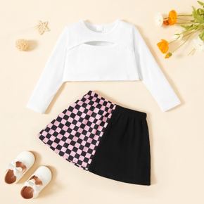 2-piece Toddler Girl Hollow out Solid Long-sleeve Top and Plaid Splice Skirt