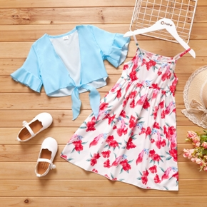 2-piece Kid Girl Floral Print Tank Dress and Ruffle-sleeve Knot Tie Solid Smock Set
