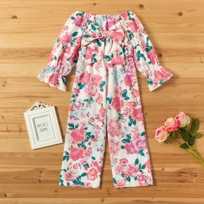 Trendy Bowknot Floral Allover Print Jumpsuit