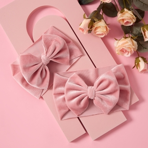 100% Velvet Bowknot Pink Headbands for Mommy and Me
