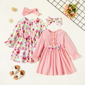 2-piece Toddler Girl Floral Print/Solid Button Bowknot Design Ruffled Long-sleeve Dress and Headband Set