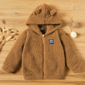 Toddler Casual Fluffy Solid Hooded Long-sleeve Coat