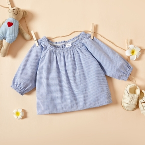 Baby Girl casual Stripes Shirt Long-sleeve Cotton Solid Smock