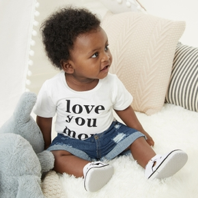 2pcs Baby Boy Solid Letter Print Cotton Short-sleeve Cowboy Baby Stes Clothes