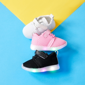 Toddler / Kid Solid Velcro Closure LED Breathable Sports Shoes