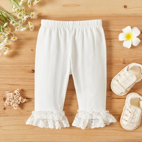 Solid Color Lace Cuff White Baby Pants