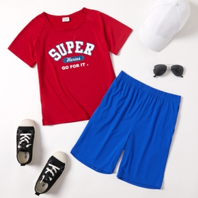 Letter Print Tee and Shorts Athleisure Set for Toddlers / Kids