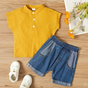 2-piece Toddler Casual Solid Tee and Jeans Set