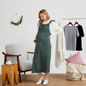 Maternity casual Plain Army green Strap dress