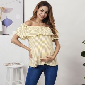 Maternity Sweet Stripes Print Boat neck Short Sleeve Shirt