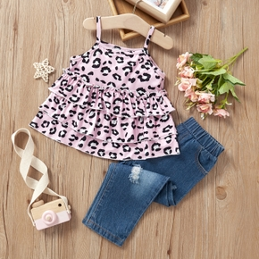 2-piece Baby / Toddler Girl Print Camisole and Denim Pants Set