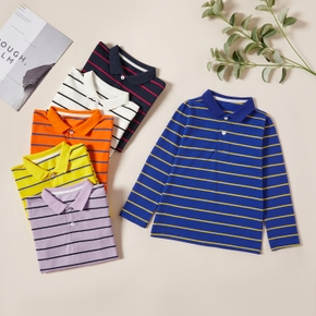 Fashionable Striped Button Lapel Collar Longsleeves Polo Shirts