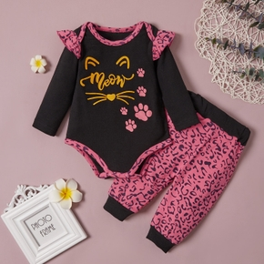 100% Cotton Cat Face and Leopard Long-sleeve Baby Set