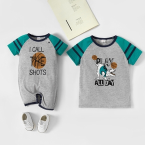 Mosaic Letter and Basketball Print Short-sleeve Siblings Matching Sets
