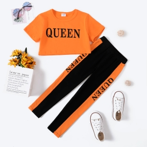'Queen' Letter Color Block Tee and Pants Athleisure Set for Toddlers / Kids