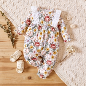 Floral Allover Ruffle Decor Long-sleeve Beige Baby Jumpsuit