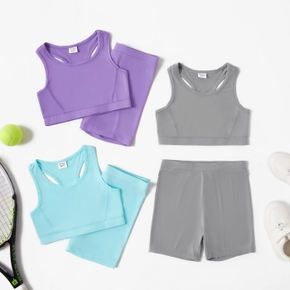 Solid Basic Shorts Tank Top and Shorts Athleisure Set for Toddlers/Kids