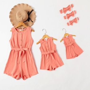 100% Cotton Crepe Solid Sleeveless Matching Red Tank Shorts Rompers