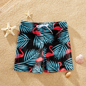 Trendy Kid Boy Flamingo Print Swimming Trunks