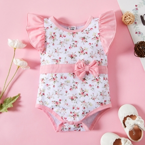 1pc Baby Girl Sleeveless casual Floral Rompers & Bodysuits