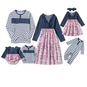 Mosaic Family Matching Denim Cotton Sets(V-neck Dresses - Long Sleeve T-shirts - Rompers)