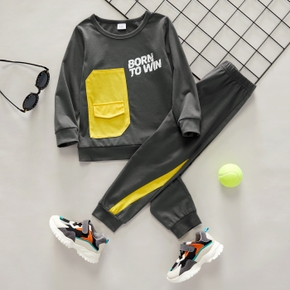 2-piece Toddler Boy Letter Print Colorblock Pullover and Elasticized Pants Set